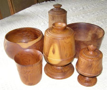 Mark's little collection of treen turned from yew