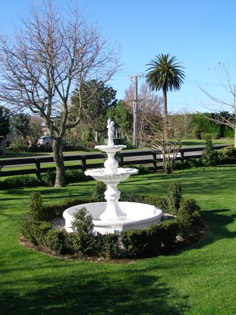 The rococo styled fountain has drifted down the road from us