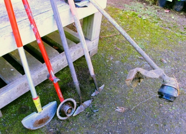 Edging tools, push hoes and our well-used petrol powered line trimmer
