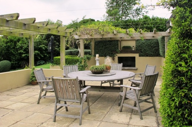 A well designed outdoor dining area at Foreman's garden in Lepperton - and well under 20 paces from the kitchen
