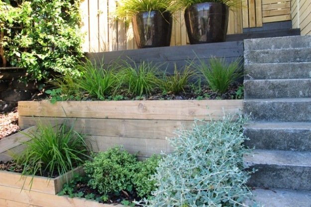 Terracing allows for easier gardening after the initial cost and effort (but I think the steps are too steep to be comfortable)