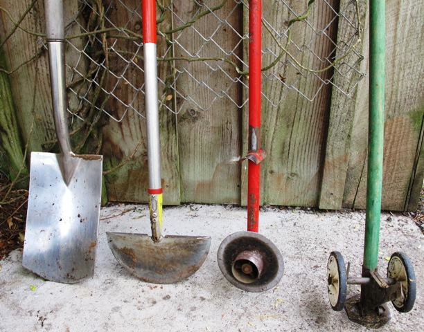 An array of edging tools - preferable to spraying garden edges