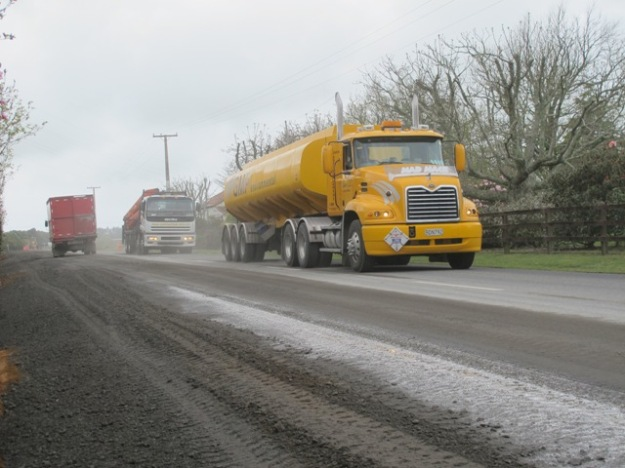 Greymouth's yellow tanker on their new stretch of Otaraoa Road