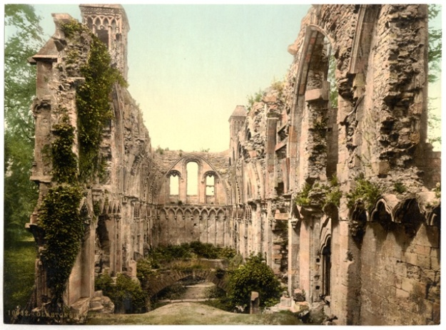 An impossibly romantic view from 1900 of the Lady Chapel in the ruins of the once powerful Glastonbury Abbey