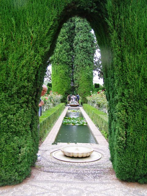 The gardens at the Alhambra are re-creations. Note the gentlemen on the left, politely trying not to intrude on my photo.