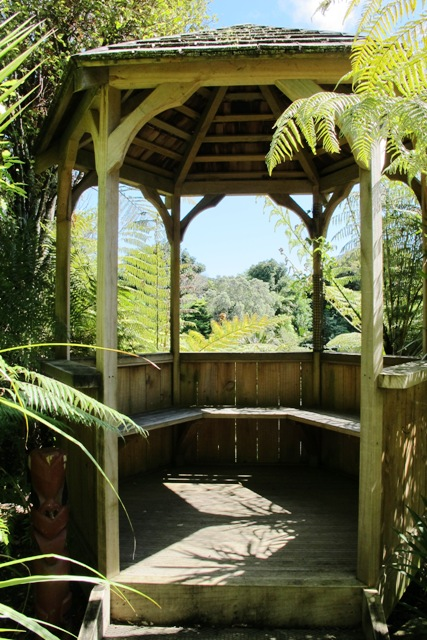 The tanalised pine gazebo is much favoured in New Zealand gardens, often as a focal point