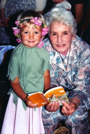 Our own little sweet pea fairy with her Nana Jury from three decades ago