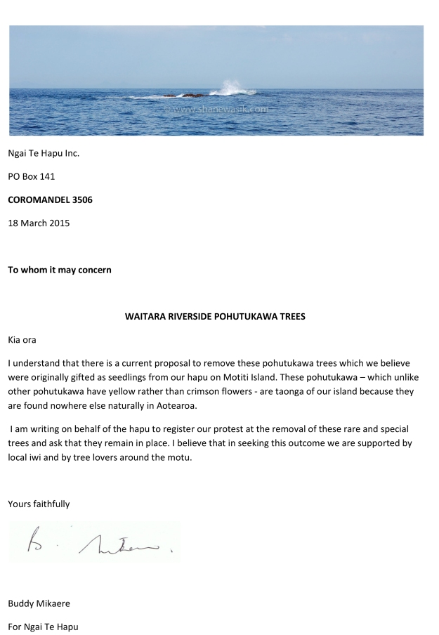 Pohutukawa letter