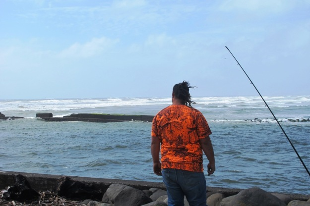 Fishing at the Waitara river mouth