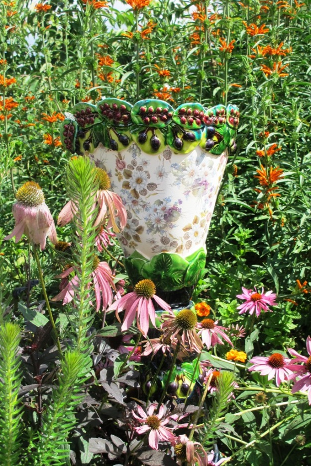 Beautiful pots don't even need a plant in them - photographed in Lynda Hallinan's garden near Auckland