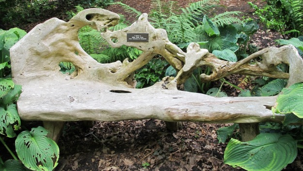A natural-formed seat in the stumpery at Wisley, though it would look better without the dedication plaque