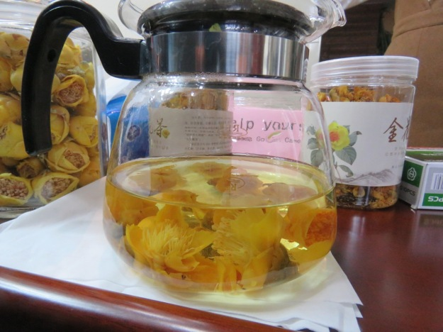 Tea made from the golden flowers was served to us on a number of occasions and is very pretty