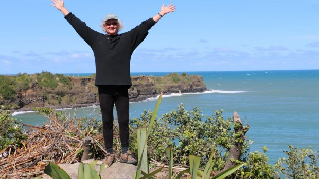 """Opunake resident Kelly Knadle wants more of a clifftop shelter belt cut back and the area developed to enhance the views"" Photo credit: Taranaki Daily News"